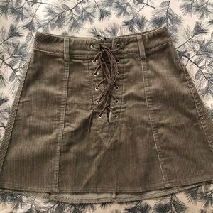 LF Lace-up Corduroy Skirt - Brown